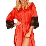Saténový dámský župan Marbella červený s krajkou