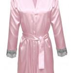 Saténový krátký župan Gina růžová  – DKaren