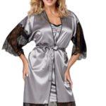 Luxusní dámský saténový župan Escora šedý