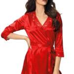 Luxusní saténový župan Venus červený