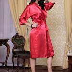 Saténový dámský župan 115 červený nadměrná velikost