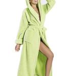 Župan Diana zelený dlouhý s kapucí